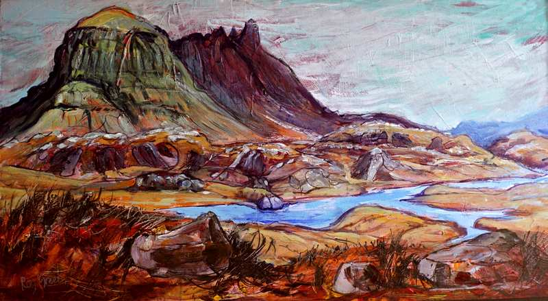 1 Suilven, Assynt, NW Scotland (Acrylic on canvas board, 86 x52cm, framed)