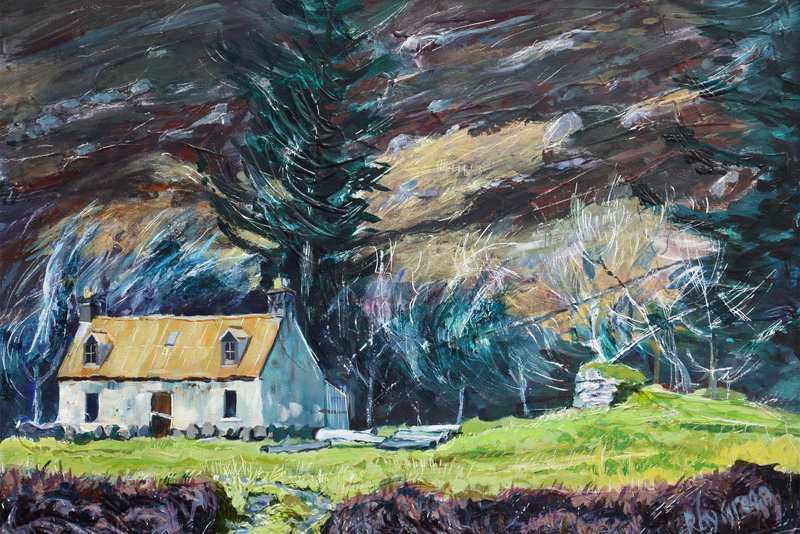8 Abandoned Bothy, NW Scotland (Acrylic on canvas board, framed) (SOLD)