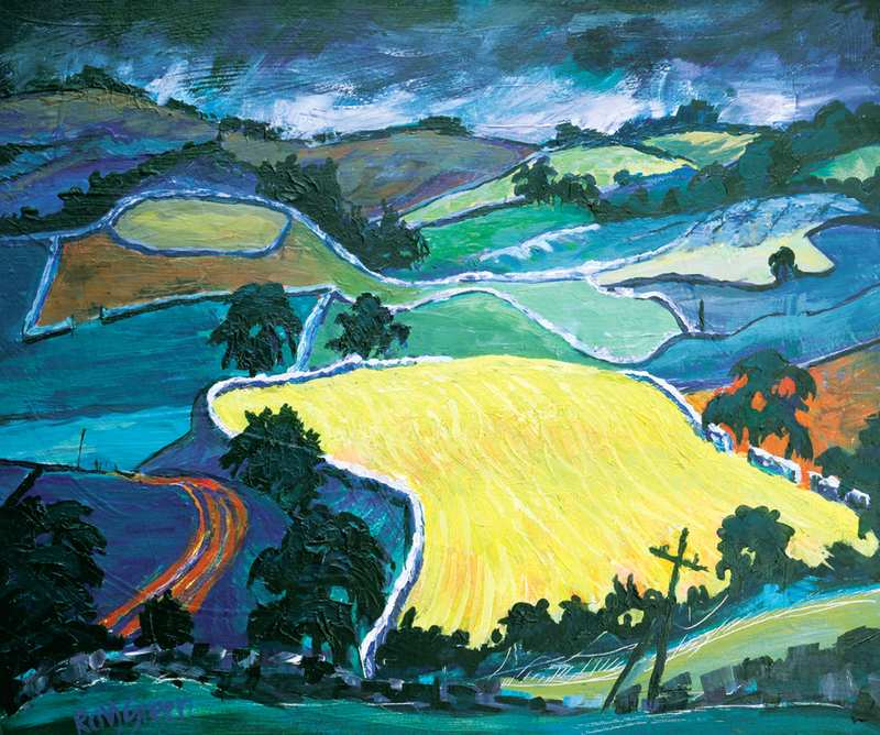 9 Yellow Field, Mallerstang (Acrylic on canvas board 62 x 55cm, framed)