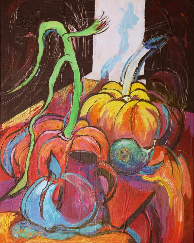 14 Pumpkins, Pears and Things (Acrylic on canvas 40 x 50cm, framed)