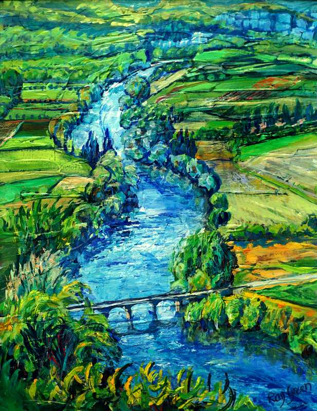 18.2 The Mighty Dordogne (Acrylic on canvas board 52 x 66cm, framed)