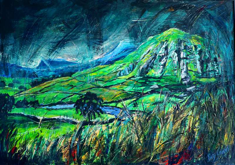 19 Wild Yorkshire Landscape (Acrylic on canvas board 94 x 69cm, framed) (SOLD)