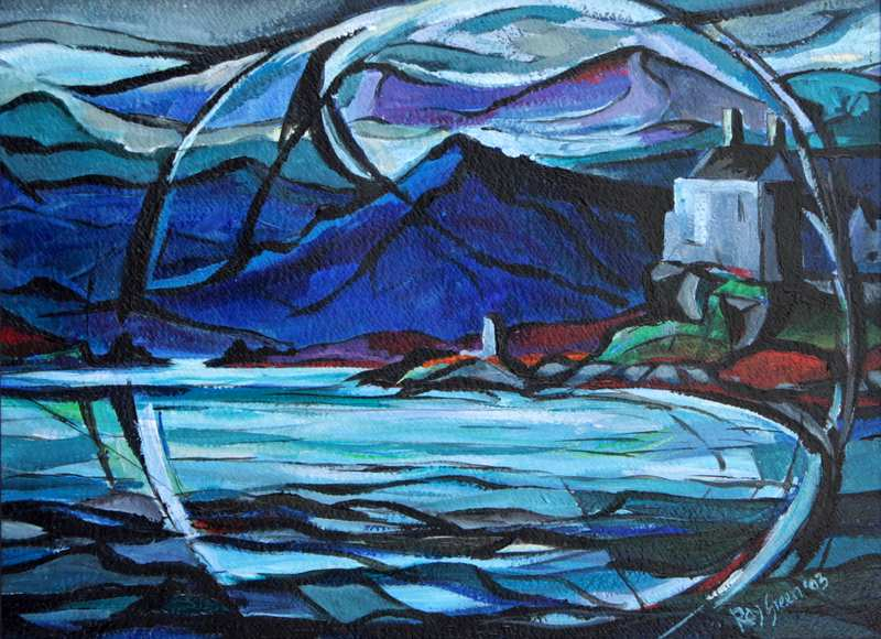27 Into the World of Mountains and Lochs (Acrylic on canvas board 63 x 48cm , framed)