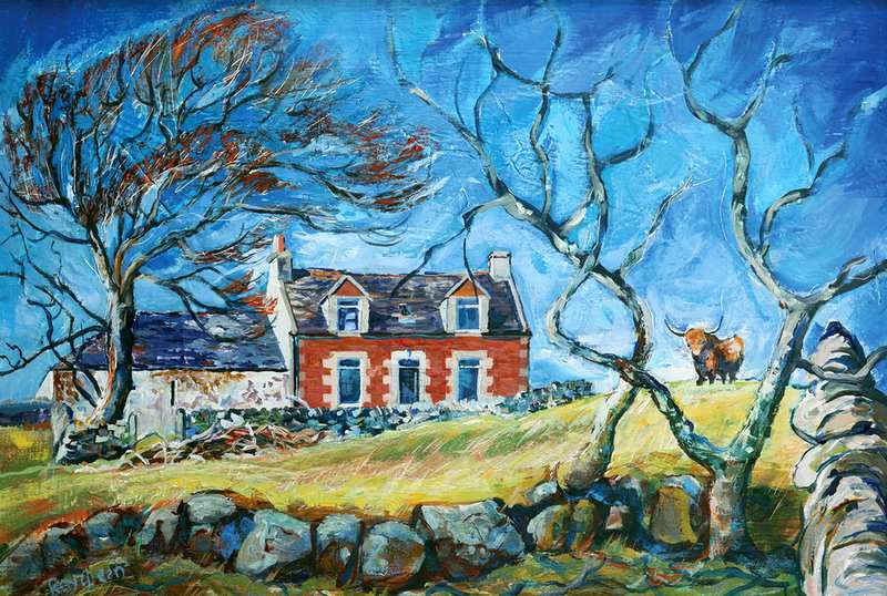28 Scottish Hill Farm (Acrylic on canvas board, framed) (SOLD)