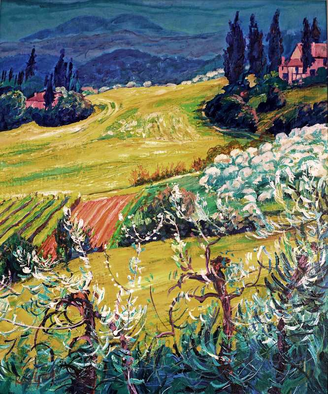 30 Hot Tuscany Landscape (Acrylic on canvas board 56 x 67cm, framed) (SOLD)