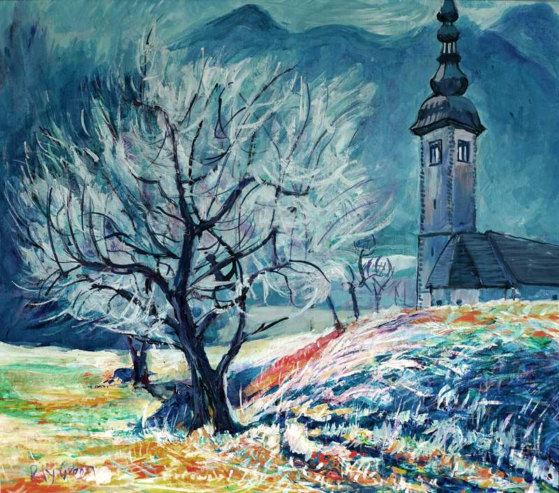 31 Winter Landscape (Acrylic on canvas board 62 x 54cm, framed) (SOLD)