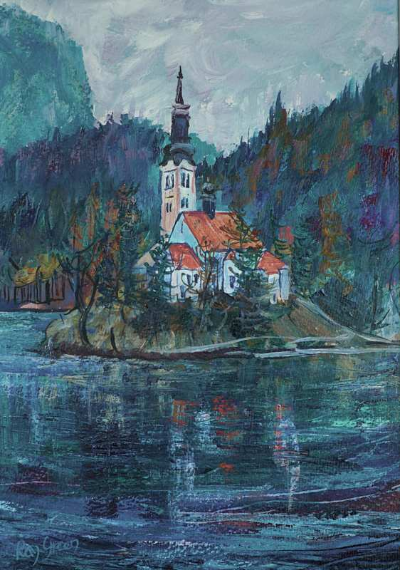 32 Lake Island Church (Acrylic on paper, framed) (SOLD)