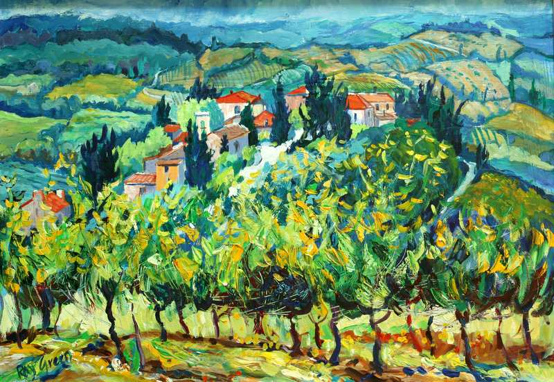 38 Tuscany Hill Village (Acrylic on canvas board framed) (SOLD)