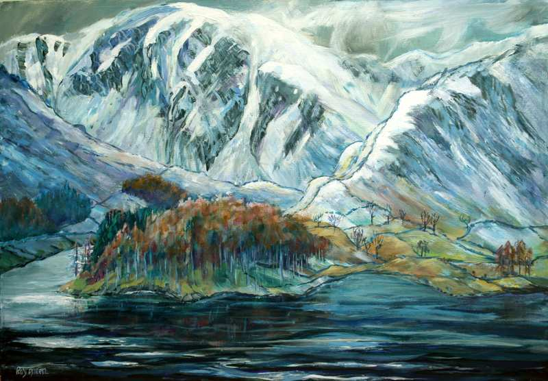 43 Fresh Snow on Lake District Mountains (Acrylic on canvas board framed) (SOLD)