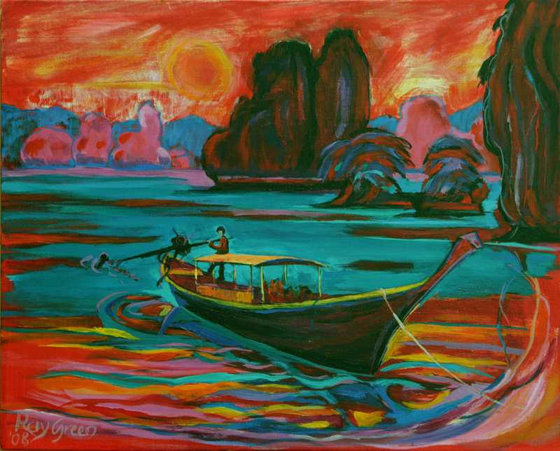 17 Thailand: Long Boat Leaving (Acrylic on canvas board, 51 x 41cm, framed)