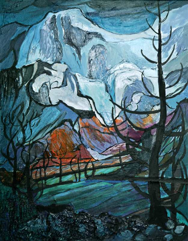 16.1 Fresh Snow on Lake District Mountains (43 x 52 cm, framed, mixed media on canvas) (SOLD)