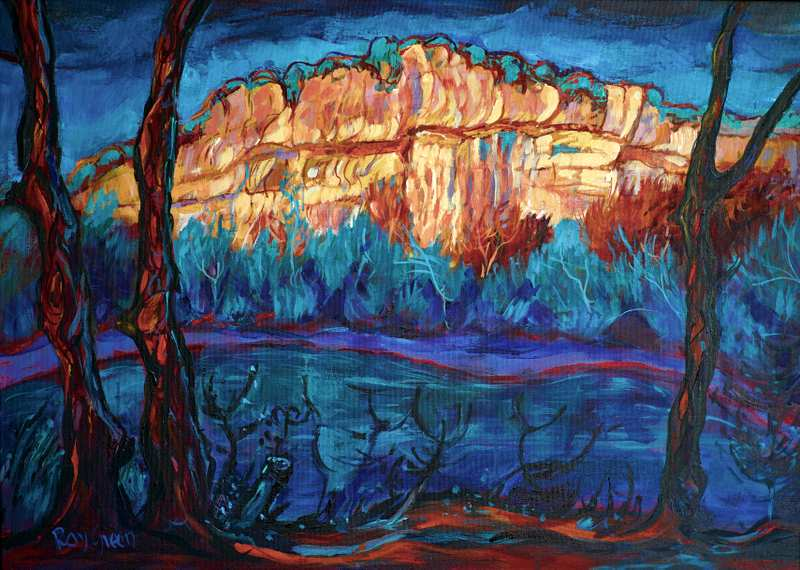 26 Big River Gorge Sunset (Acrylic on canvas board, 68 x 53cm, framed)