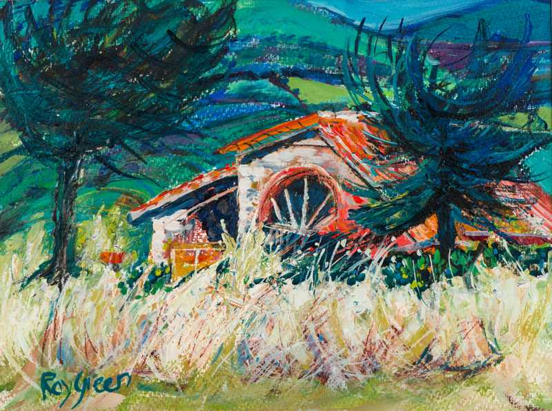 2 Old Tuscany Farm (Mixed media on paper, 48 x 35cm, framed)