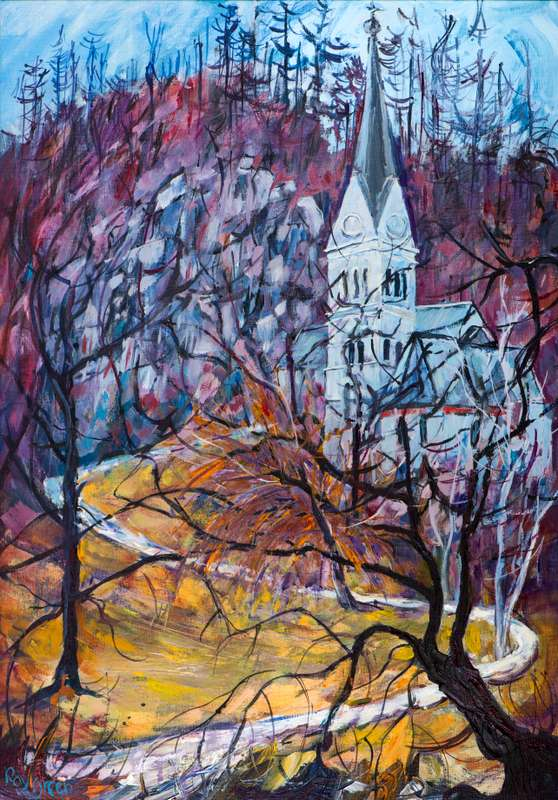 4 Lake Bled Church (Acrylic on canvas board, 47 x 66cm, framed)