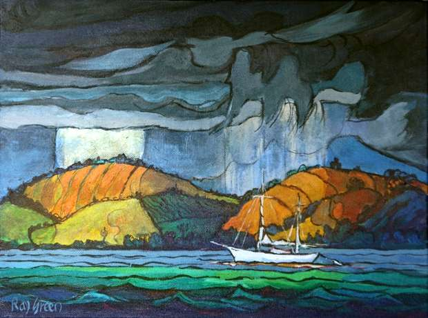 5 White Yacht (Acrylic on canvas board, 43 x 33cm, framed) (SOLD)