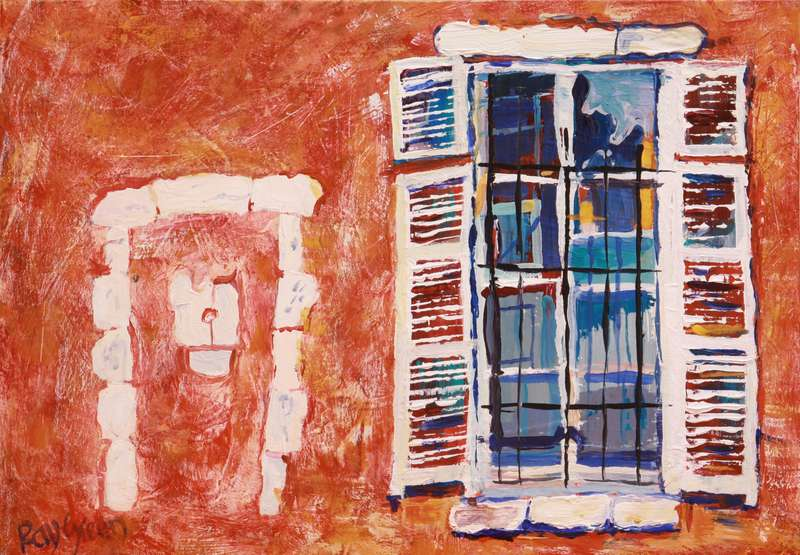11 Old Chateau windows (Acrylic on canvas board, 47 x 34cm, framed)