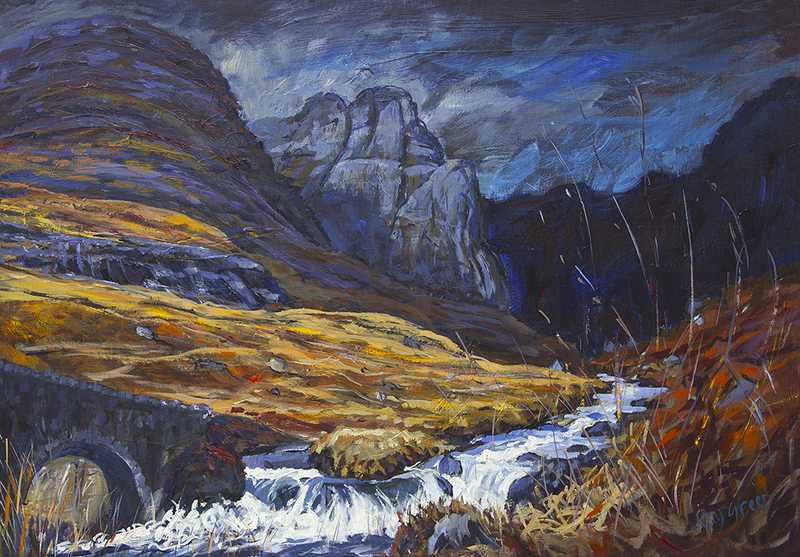 18.1 Wild Scottish Mountain (Acrylic on canvas board, 96 x 69cm framed) (SOLD)