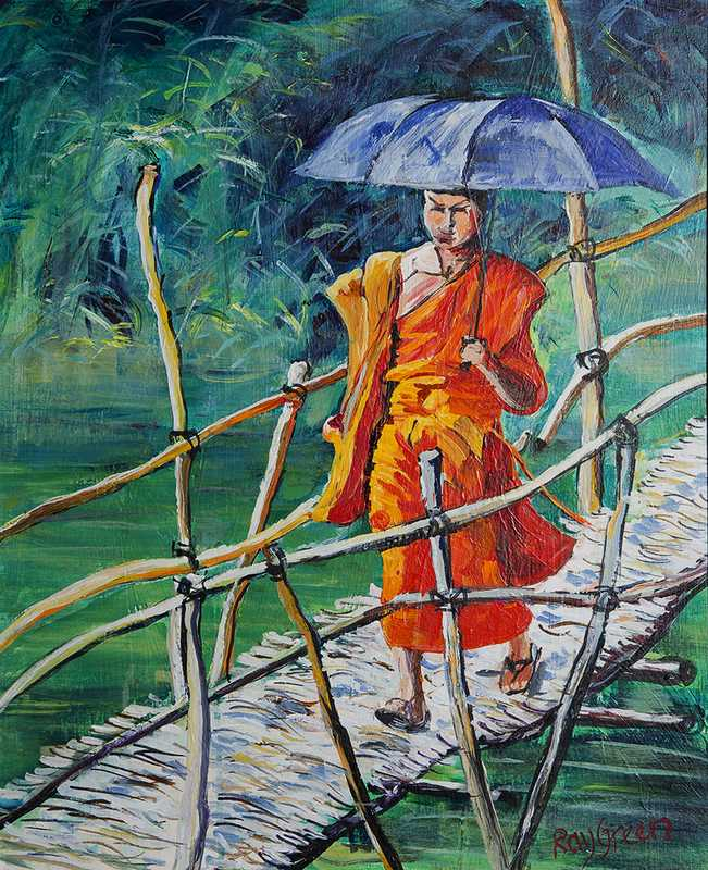 20.1 Hot River Crossing (Acrylic on canvas board, 51 x 60cm framed)