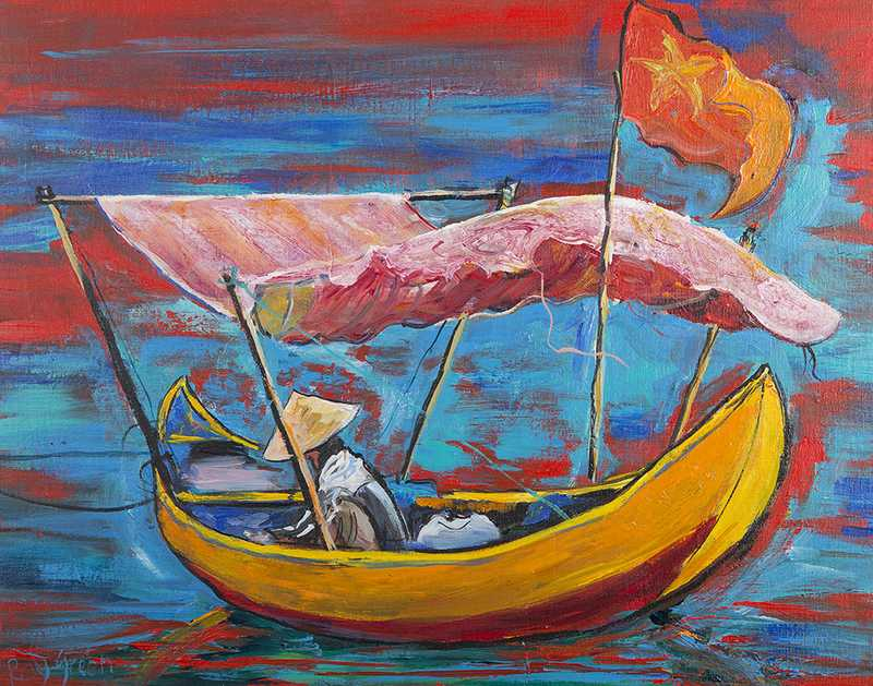 44 Vietnamese fisherman (Acrylic on canvas board, 66 x 44cm framed)
