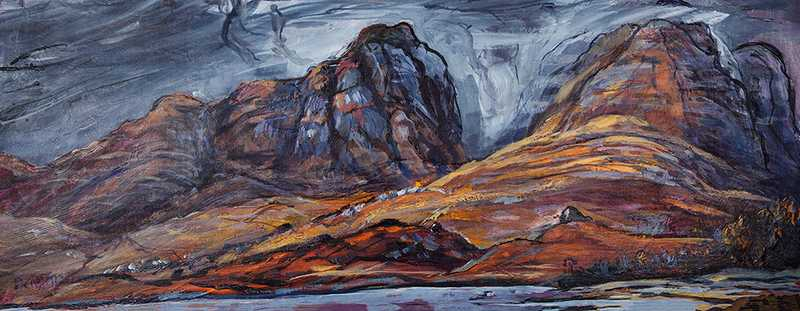 6.1 Applecross Mountains (Acrylic on canvas board, 88 x 38cm, framed)
