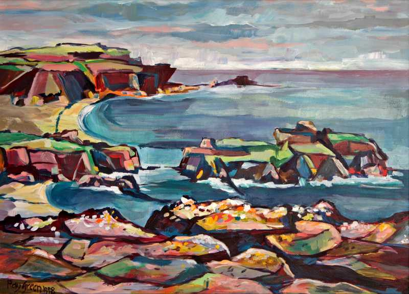 63 Old Scottish Sea Cliffs (Acrylic on paper) (SOLD)
