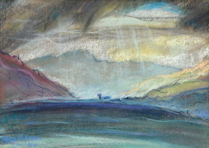 72 Storm coming up the Sea Loch (Pastel on Paper) (SOLD)