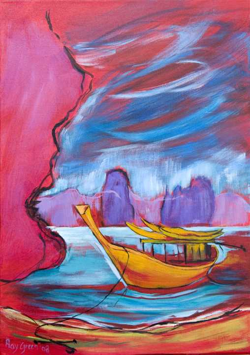 91 Long-tail Boat: Thailand (Acrylic on board) (SOLD)