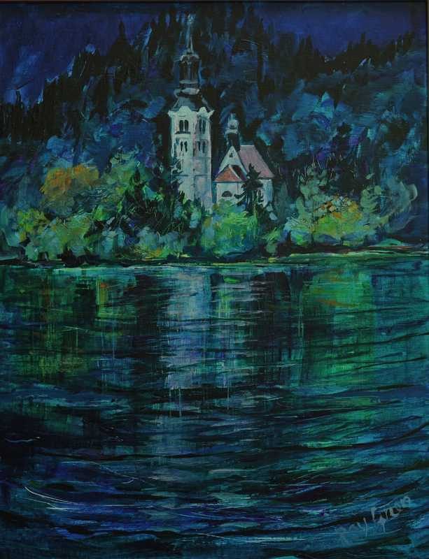 92 Lake Island church (Acrylic on Paper) (SOLD)