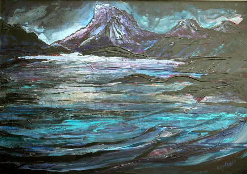 95 Encroaching Darkness on the Sea Loch  (Acrylic on canvas board, 95 x 70cm, framed) (SOLD)