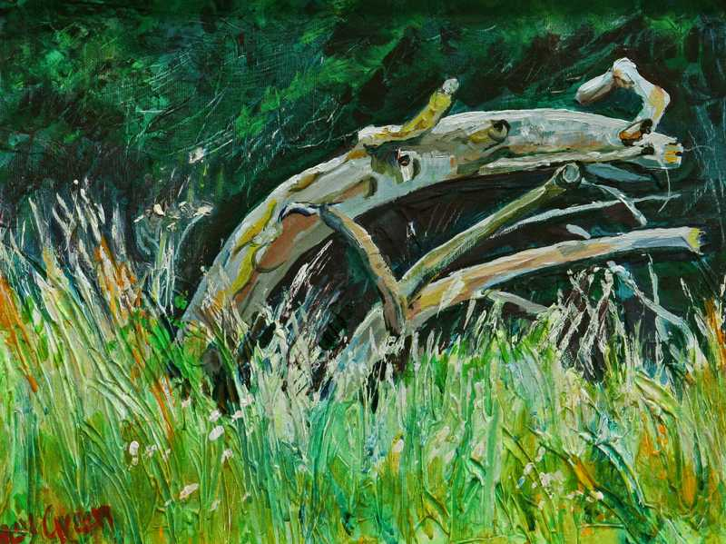 96 Old Tree by the River (Acrylic on canvas board, 46 x 36cm, framed) SOLD