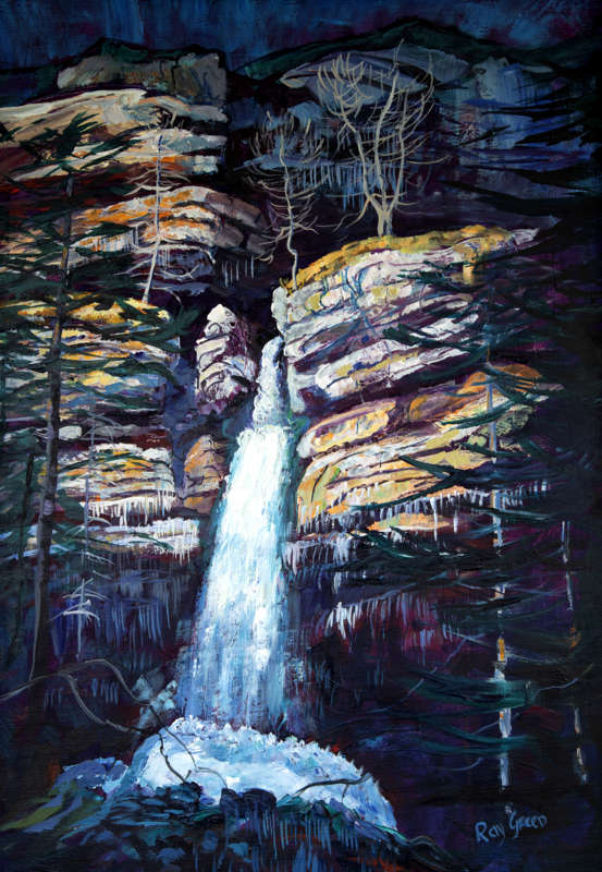 103 Cold Mountain Waterfall (Acrylic on canvas board, 64 x 88cm)