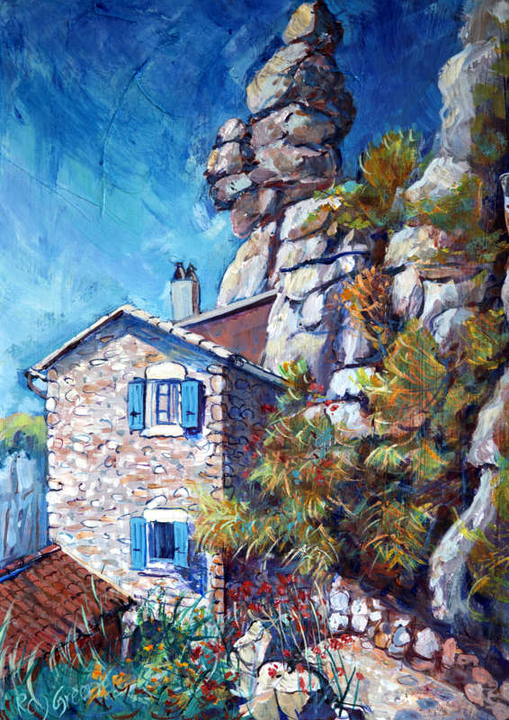 101 French Cottage (Acrylic on canvas board, 32 x 45cm)