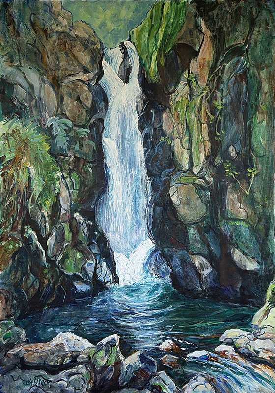 15 Waterfall (Acrylic on canvas 63 x 89cm, framed)
