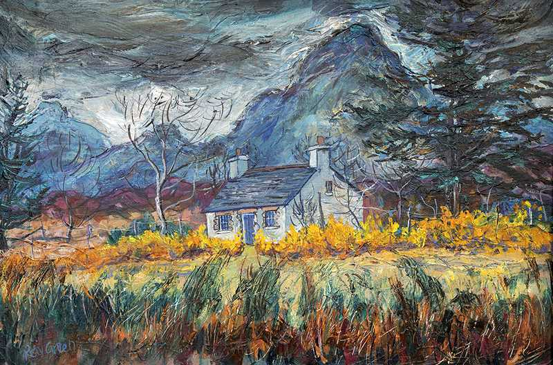 16.2 Wild mountain Bothy (Acrylic on canvas board, 80 x 55cm framed)