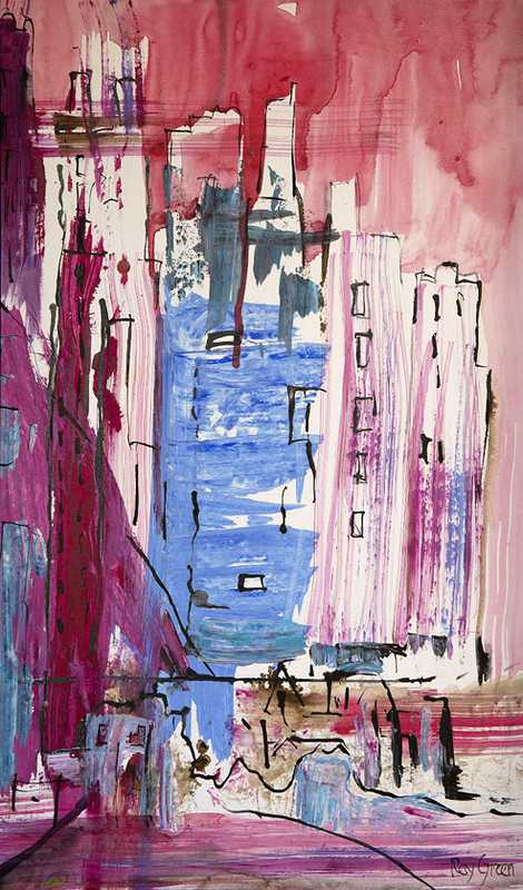 113 Cityscape (40 x 63 cm, mixed media on paper) (SOLD)
