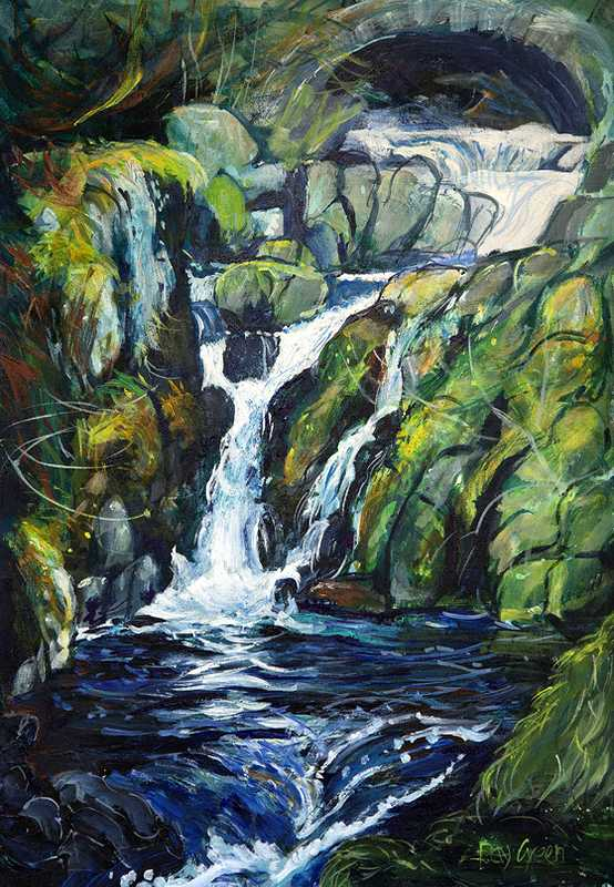 106 Lake district Waterfall (47 x 65cm, acrylic on canvas board)