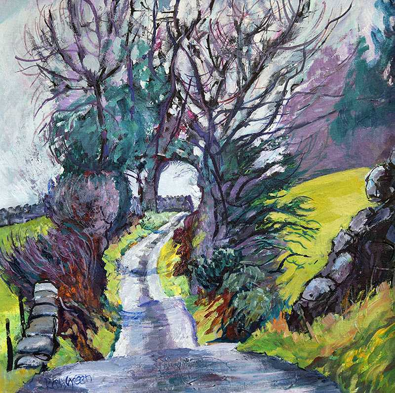 107 Lane near Kendal (53 x 52cm, acrylic on canvas board)