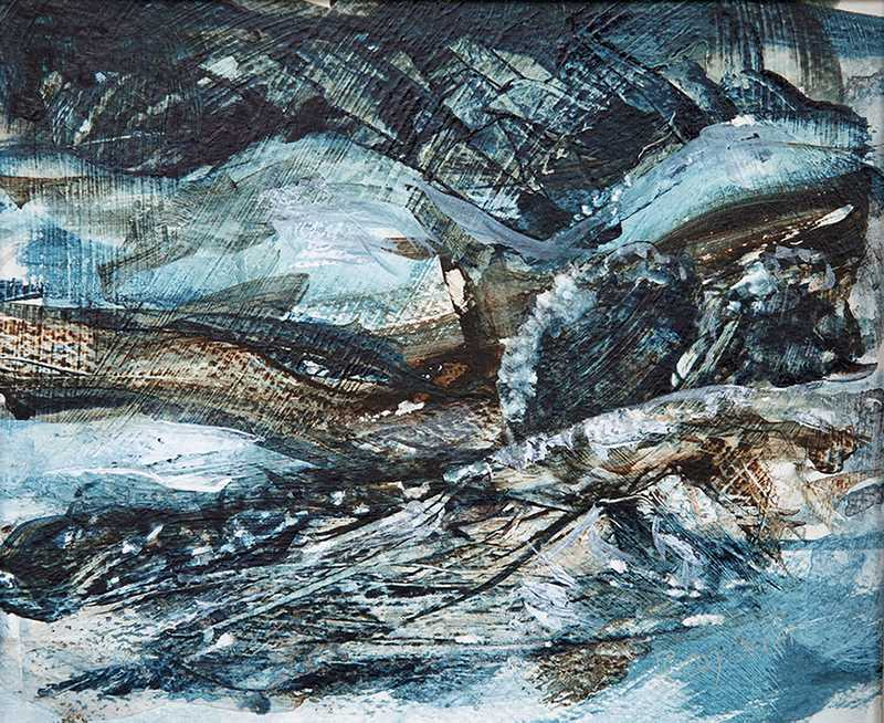 111 Wild Winter Landscape (30 x 26cm, acrylic on paper) (SOLD)