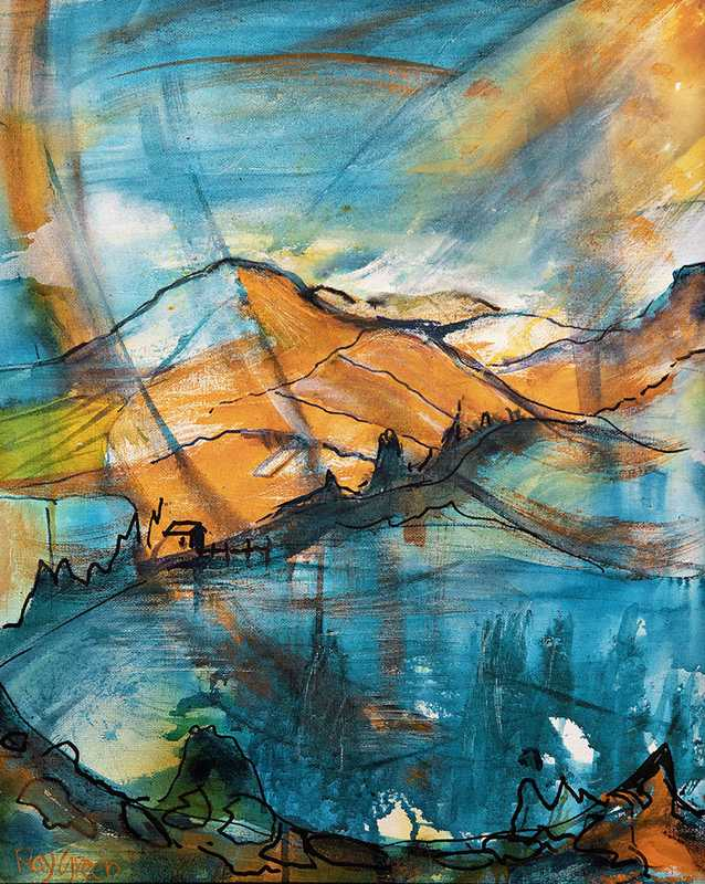 119 Blue and orange landscape (Acrylic on paper,  43 x 52cm framed)