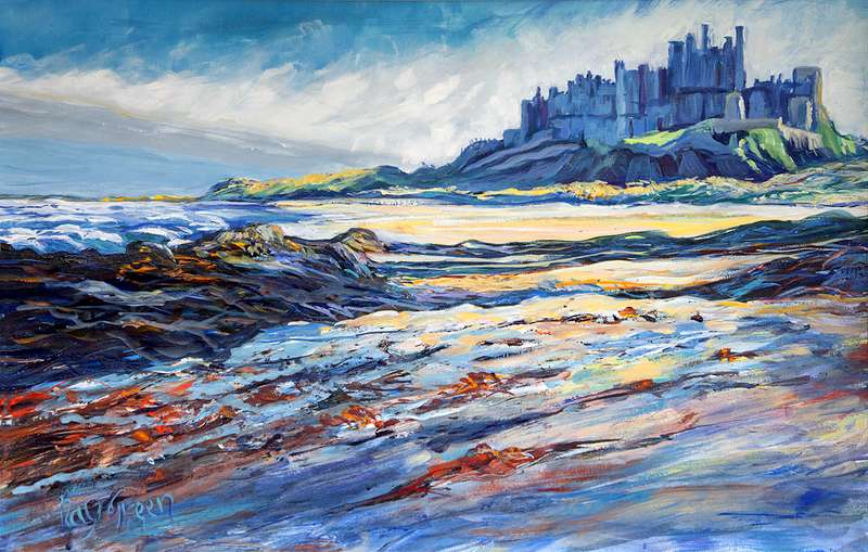 122 Bamburgh Castle (Acrylic on canvas board,86 x 59cm framed)