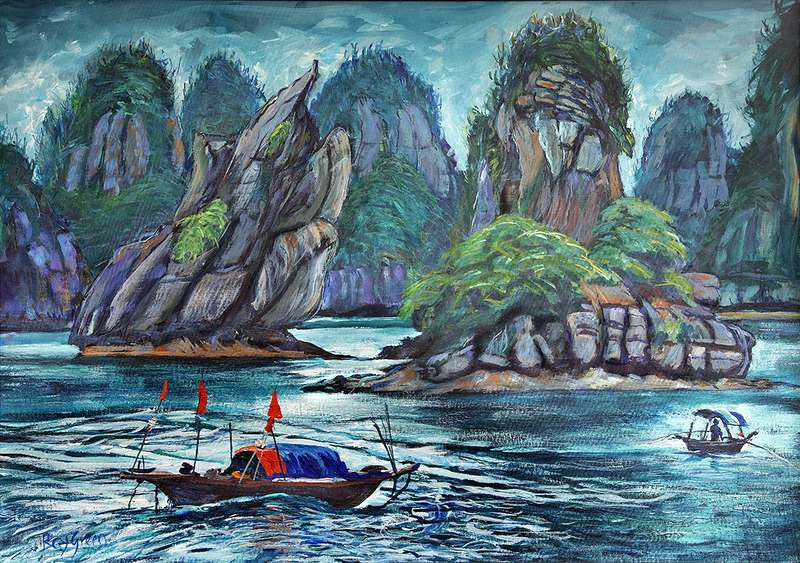 121 Halong Bay Vietnam (Acrylic on canvas board, 95 x 70cm framed)