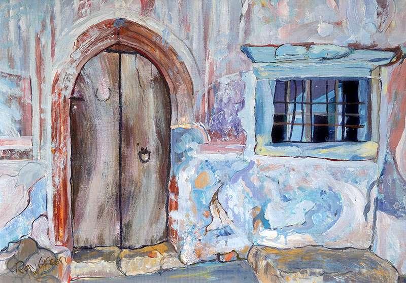 124 Old door and window (Acrylic on canvas board, 64 x 47cm, framed)
